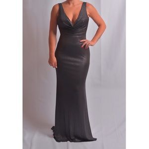 Black Gown with Metallic Overlay